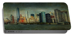Portable Battery Charger featuring the mixed media New York After Storm by Dan Haraga