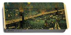 Portable Battery Charger featuring the photograph New York And Brooklyn Bridge Opening Night Fireworks by John Stephens