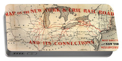 Portable Battery Charger featuring the photograph New York And Erie Railroad Map 1855 by Daniel Hagerman