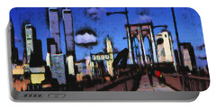 New York Blue - Modern Art Painting Portable Battery Charger