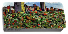 Portable Battery Charger featuring the painting New York Central Park by Terry Banderas