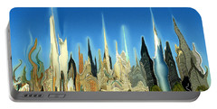 New York City Skyline 2100 - Modern Artwork Portable Battery Charger