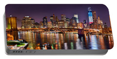 New York City Brooklyn Bridge And Lower Manhattan At Night Nyc Portable Battery Charger