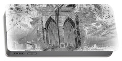 Portable Battery Charger featuring the digital art New York City Brooklyn Bridge In Detail - Grey by Melanie Viola