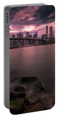 Portable Battery Charger featuring the photograph New York City Brooklyn Bridge Sunset by Ranjay Mitra