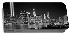New York City Bw Tribute In Lights And Lower Manhattan At Night Black And White Nyc Portable Battery Charger