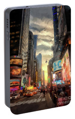 Portable Battery Charger featuring the photograph New York City Lights by Lois Bryan