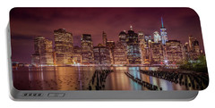 Portable Battery Charger featuring the photograph New York City Nightly Impressions - Panoramic by Melanie Viola