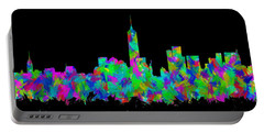 New York City Skyline Abstract Silhouette II Portable Battery Charger