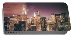 New York City Skyline - Night Portable Battery Charger
