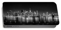 New York City Skyline Panorama At Night Bw Portable Battery Charger