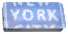 New York City Skywriting Typography Portable Battery Charger by Georgeta Blanaru
