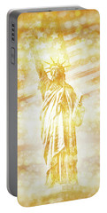 New York City Statue Of Liberty With American Banner - Golden Painting Portable Battery Charger
