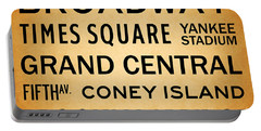 New York City Subway Sign Typography Art 1 Portable Battery Charger