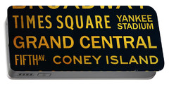 New York City Subway Sign Typography Art 2 Portable Battery Charger