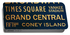 New York City Subway Sign Typography Art 4 Portable Battery Charger