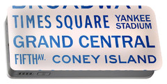 New York City Subway Sign Typography Art 5 Portable Battery Charger