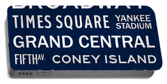 New York City Subway Sign Typography Art 6 Portable Battery Charger