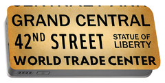 New York City Subway Sign Typography Art 7 Portable Battery Charger