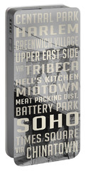 New York City Subway Stops Vintage Brooklyn Bridge Portable Battery Charger by Edward Fielding