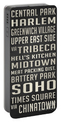 New York City Subway Stops Vintage Portable Battery Charger by Edward Fielding
