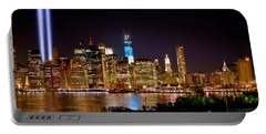New York City Tribute In Lights And Lower Manhattan At Night Nyc Portable Battery Charger