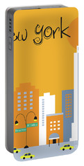 New York City Vertical Skyline - Empire State At Dawn Portable Battery Charger