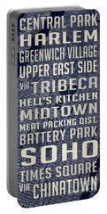 New York City Vintage Subway Stops With Map Portable Battery Charger by Edward Fielding