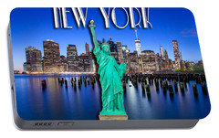 New York Classic Skyline With Statue Of Liberty Portable Battery Charger by Az Jackson