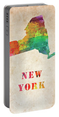 New York Colorful Watercolor Map Portable Battery Charger