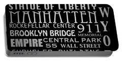 New York Famous Landmarks Silver Portable Battery Charger