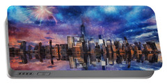 New York Fireworks Portable Battery Charger by Ian Mitchell