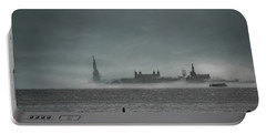 Portable Battery Charger featuring the photograph New York Harbor With Fog by Chris Lord