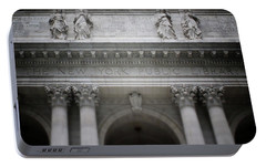 Portable Battery Charger featuring the mixed media New York Public Library- Art By Linda Woods by Linda Woods
