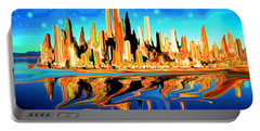 New York Skyline In Blue Orange - Modern Fantasy Art Portable Battery Charger