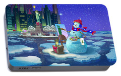 New York Snowman Portable Battery Charger by Michael Humphries