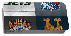 New York Sports Team License Plate Art Collage Jets Rangers Knicks Mets V2 Portable Battery Charger