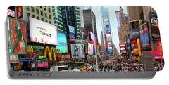 New York Times Square Panorama Portable Battery Charger by Kasia Bitner