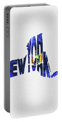 New York Typographic Map Flag Portable Battery Charger