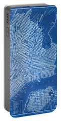 New York Vintage Old Map, Year 1844, Blue Poster Portable Battery Charger