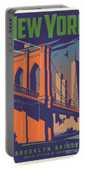 New York Vintage Travel Poster Portable Battery Charger
