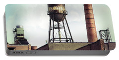 Portable Battery Charger featuring the photograph New York Water Towers 19 - Urban Industrial Art Photography by Gary Heller