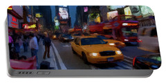 Portable Battery Charger featuring the painting New York Yellow Cab by David Dehner