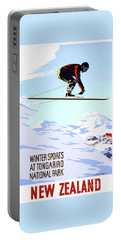 New Zealand Winter Sports Vintage Travel Poster Portable Battery Charger