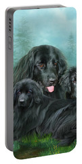 Portable Battery Charger featuring the mixed media Newfoundlander by Carol Cavalaris