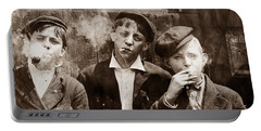 Newsboys Smoking - 1910 Child Labor Photo Portable Battery Charger
