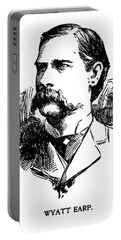 Portable Battery Charger featuring the mixed media Newspaper Image Of Wyatt Earp 1896 by Daniel Hagerman