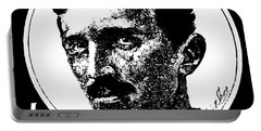 Portable Battery Charger featuring the digital art Newspaper Tesla 2 by Daniel Hagerman