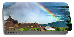 Niagara Falls And Welcome Centre With Rainbow Portable Battery Charger by Charline Xia