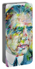 Portable Battery Charger featuring the painting Niels Bohr - Watercolor Portrait by Fabrizio Cassetta